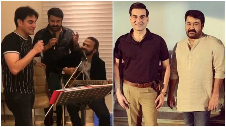 Karaoke Night! Mohanlal and Arbaaz Khan Croon to Classic Hindi Songs on Latter's Birthday (Watch Videos)