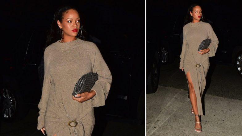 Yo or Hell No: Rihanna Picks a Nanushka Maxi Dress for her Summer Night Outing in Santa Monica