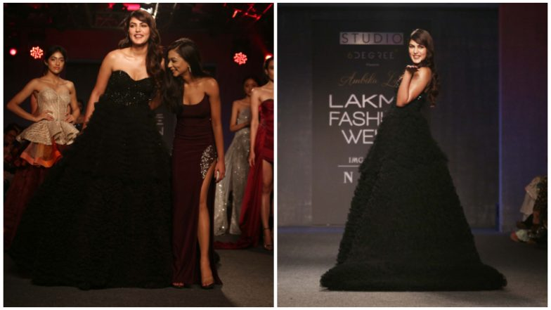 LFW Winter/Festive 2019: Rhea Chakraborty Walks the Runway for Ambika Lal in a Beautiful Black Gown (See Pics)