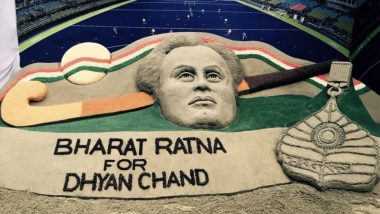 National Sports Day 2019: Remembering Major Dhyan Chand With This Beautiful Sand Art by Sudarsan Pattnaik (View Pic)