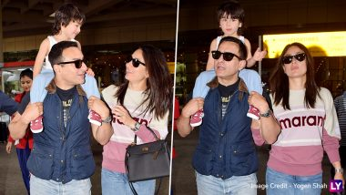 Saif Ali Khan-Kareena Kapoor Khan with Taimur Spotted at Mumbai Airport! Pataudi Fam Is Back to Bay from London (View Pics)