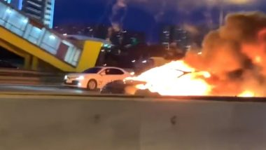 Tesla Model S Explodes on Autopilot After Colliding With Truck on Russian Highway, 3 Injured (Watch Viral Video)
