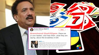Pakistan Senator Rehman Malik Tags 'UNO Game' Instead of 'United Nations' in Hilarious Twitter Gaffe