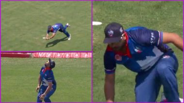 Yuvraj Singh Takes a Stunning Catch to Dismiss Lendl Simmons During Global T20 Canada 2019 Match, Watch Video