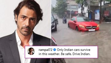 Arjun Rampal Slams a Troll in His 'Drive Indian' Instagram Post Where the Actor Took a Car Ride in Flooding Mumbai Rains (Watch Video)