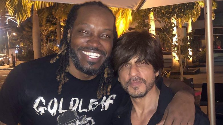 Jab Gayle Met Shah Rukh: Is the West Indian Opener Hinting King Khan to Join His 40th Birthday Celebration? (View Pic)