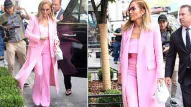 Yo or Hell No? Jennifer Lopez in a Pink Suit by Alex Perry for Hustlers Movie Promotions