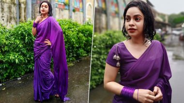 Sumona Chakravarti Sizzles in a Purple Saree Donning the Wet Look Gracefully (View Pics)