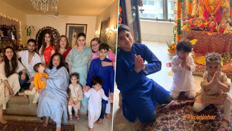 Kareena Kapoor Khan Poses with Taimur and Karan Johar's Kids Yash and Roohi at her Aunt's Rima Jain's Ganpati Celebration (View Pic)
