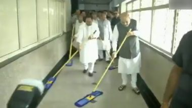 Amit Shah, JP Nadda Sweep Floor in AIIMS As Part of Seva Saptah Campaign Launched by BJP To Celebrate PM Modi's Birthday; Watch Video