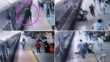 RPF Constable in Maharashtra Saves Passenger From Falling Under Moving Train at Manmad Station; Watch Video