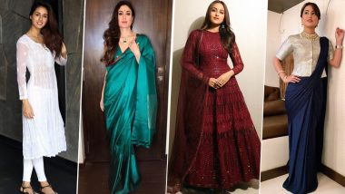 Navratri 2019 Office Outfit Ideas: Take Some Style Cues from Kareena Kapoor Khan, Disha Patani and Hina Khan on How to Dress up in Nine Colours of the Festival (View Pics)
