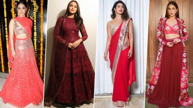 Navaratri 2019 Day 3 Colour Red: Let Priyanka Chopra, Sara Ali Khan and Others Show You How to Look Gorgeous in this Colour (View Pics)