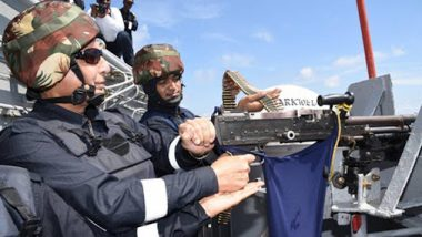 Rajnath Singh Fires Machine Gun During 'Day at Sea' Onboard INS Vikramaditya; Watch Video