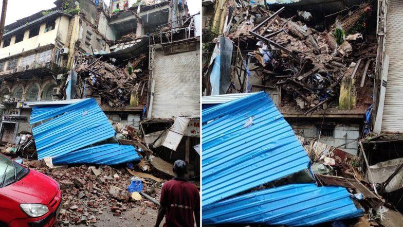 Mumbai Building Mishap: Portion of Four-Storey Building Collapses at Lokmanya Tilak Road Near Crawford Market