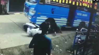 Kerala: Man Dragged Under Bus Along With Scooter, Video Shows His Miraculous Escape