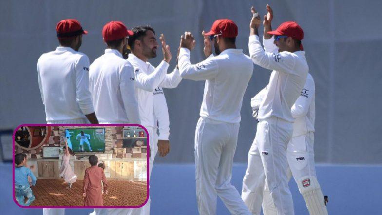 Afghan Kids Joyfully Celebrate Afghanistan's Historic Test Victory Over Bangladesh (Watch Video)