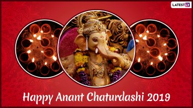 Anant Chaturdashi 2019 Wishes & Quotes: Ganpati Visarjan Messages, WhatsApp Stickers, SMS, Facebook Status and GIF Images to Send on Last Day of Ganeshotsav