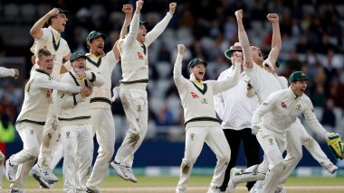 Here's How Steve Smith, Pat Cummins and Other Australian Players Celebrated Ashes 2019 Victory at Old Trafford That Helped Baggy Greens Retain the Urn (Watch Video)
