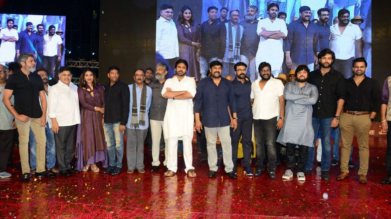 Sye Raa Narasimha Reddy Pre-Release Event Pics: Chiranjeevi, Ram Charan, Vijay Sethupathi and Other Cast Members Grace the Ceremony