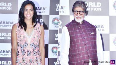 Amitabh Bachchan, Abhishek Bachchan, Prem Chopra and Other Bollywood Celebs Attend PV Sindhu's Felicitation Function (View Pics)