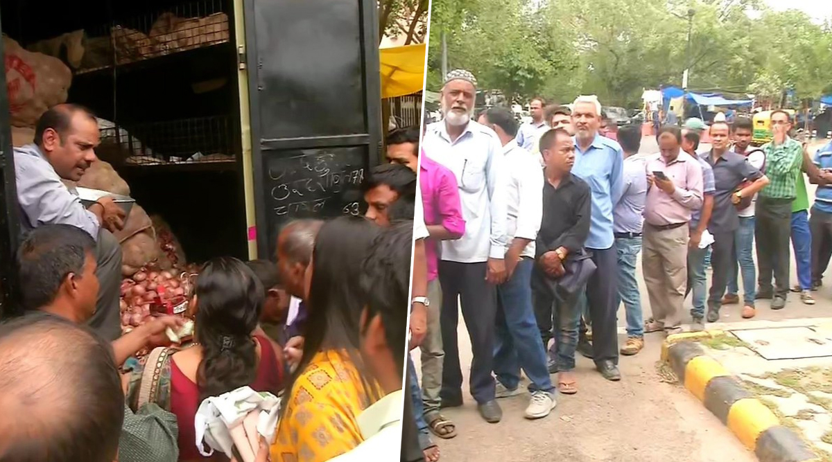 Onions Sold at Rs 22 Per kg in Delhi by Govt Mobile Vans, People Queue Up in large Numbers as Non-Subsidised Prices Soar to Rs 70-80