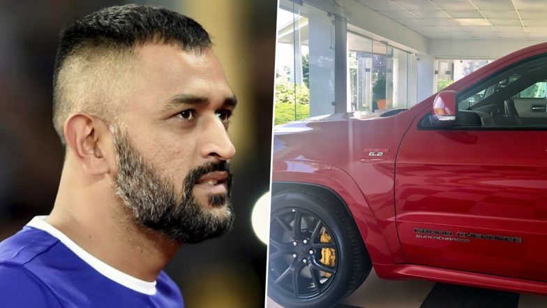 MS Dhoni Spotted Driving India's First Jeep Grand Cherokee SRT Trackhawk After Wife Sakshi Welcomed 'Red Beast' Home in August (View Pics and Video)