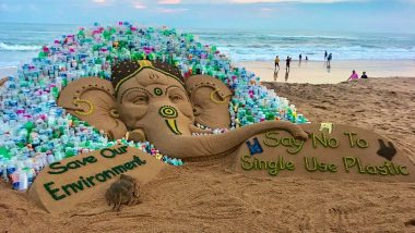 Ganesh Chaturthi 2019: Sudarsan Pattnaik Creates Sand Ganesh With a Message 'Say No to Single-Use Plastic'