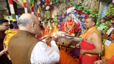 Ganesh Chaturthi 2019: Home Minister Amit Shah Arrives in Mumbai, Offers Prayers at Siddhivinayak Temple