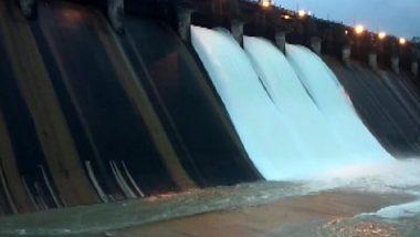 Karnataka Rains: 3 Gates of Linganamakki Dam Opened as Reservoir Breaches Capacity Due to Heavy Rainfall