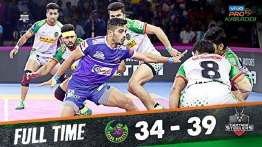 PKL 2019 Match Results: Haryana Steelers Defeat Patna Pirates 39–34