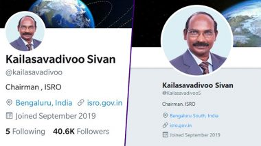 ISRO Clarifies After Fake Twitter Accounts Impersonating K Sivan, Man Behind Chandrayaan 2 Mission, Surfaces on Social Media