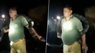 West Bengal Forest Guard Poses With King Cobra, Wraps Venomous Snake Round His Neck; Watch Video