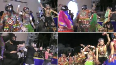 Gujarat Navratri 2019 Celebration: People in Surat Perform Garba Dance Wearing Helmets to Create Awareness About Road Safety; Watch Video