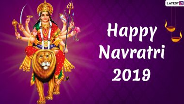 Navratri 2019 Images & HD Wallpapers For Free Download Online: Send Happy Navratri Wishes With Beautiful WhatsApp Sticker Messages and GIF Greetings