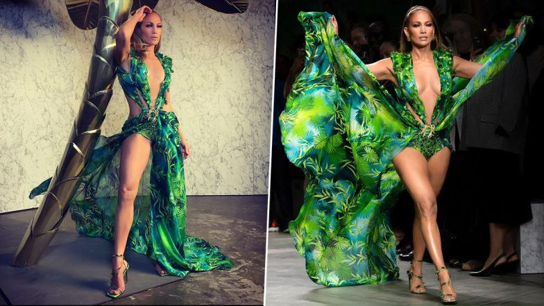 Jennifer Lopez's Iconic Versace Jungle Dress That Inspired Google Images Gets a Revamp at Milan Fashion Week! Know About JLo's Outfit From 2000 Grammy Awards