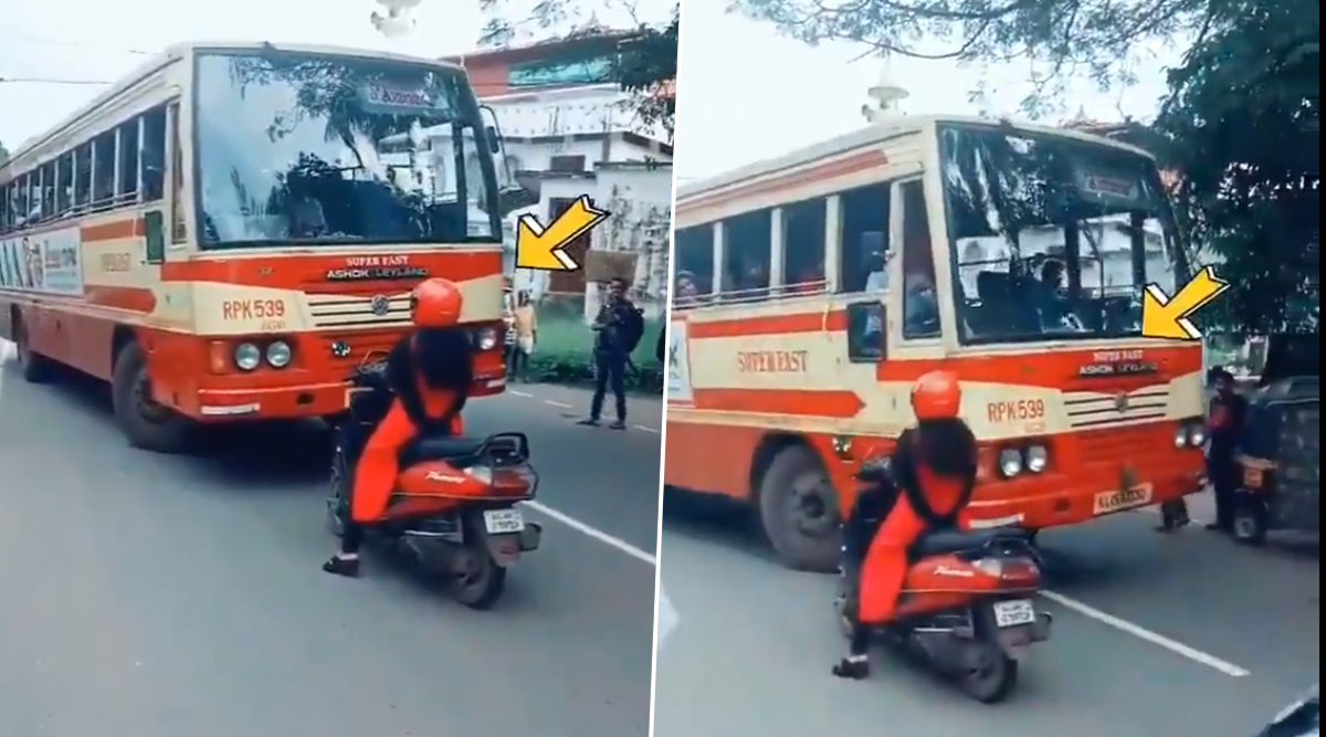 Kerala Woman Blocks Path of Bus Driver Who Comes in Wrong Lane, Forces Him to Take Right Way - Watch Video