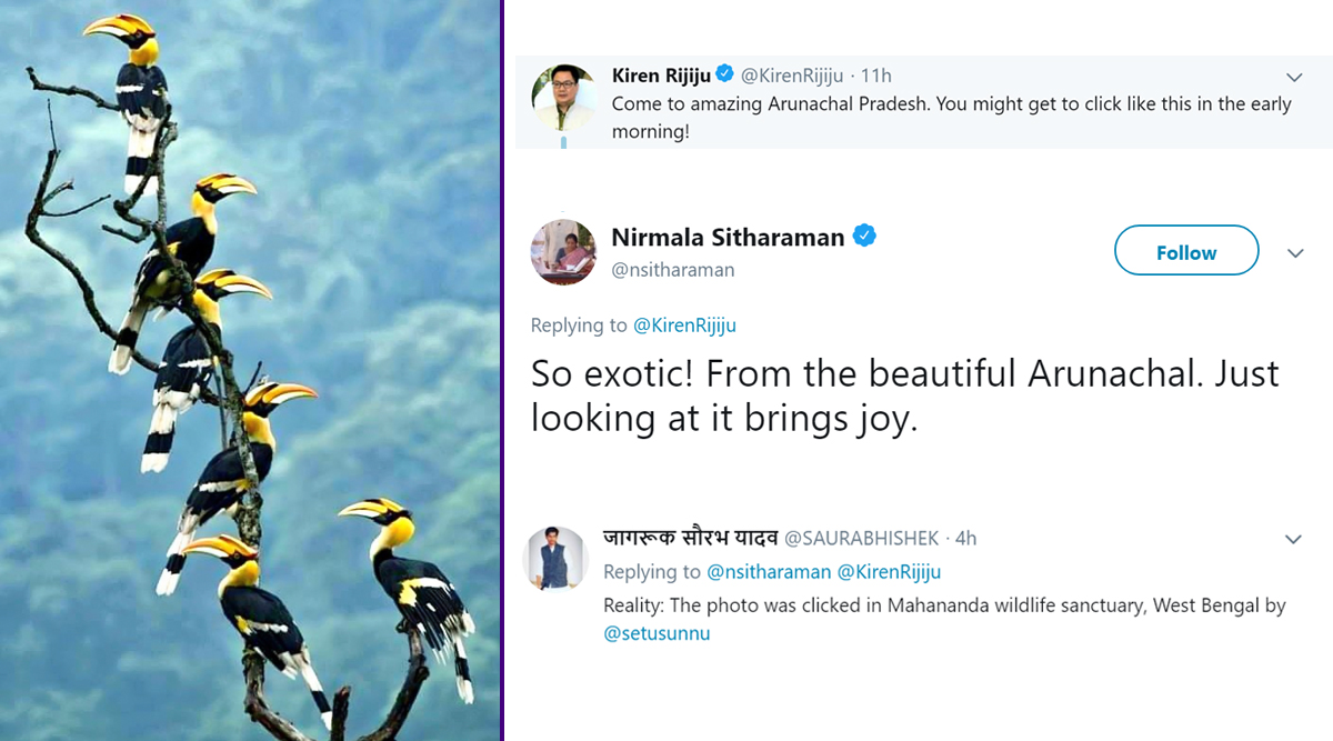 Kiren Rijiju Shares Beautiful Picture of West Bengal, Calling it Arunachal Pradesh, Nirmala Sitharaman Says Exotic; Both Get Trolled