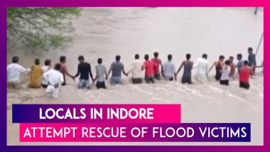 Locals In Indore Brave Overflowing River To Pull Out Stranded Flood Victims