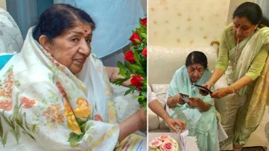 Lata Mangeshkar Trying To Get A Good Picture Of Her Birthday Cake Is So Us (View Pic)