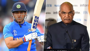 President Ram Nath Kovind Showers Praises on MS Dhoni, Says 'He Has Made Ranchi Famous in the World of Cricket'