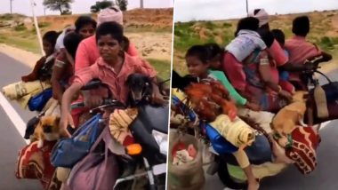 Viral Video Shows Man Carrying Family of 7 People, 2 Dogs and 2 Hens on His Bike! Twitter is Cheering This Jugaad