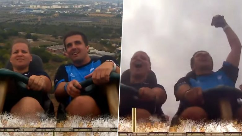 Man Catches Dropped Phone Sitting on a Roller Coaster Ride Like a Pro, Video Goes Viral