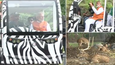 Narendra Modi Birthday: PM Visits Jungle Safari Tourist Park in Kevadiya, Tweets Video Of 'Majestic Statue Of Unity'