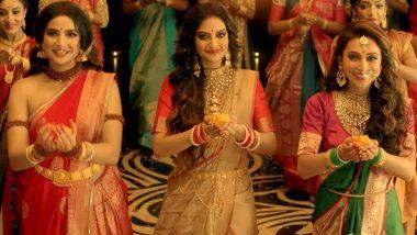 Durga Puja 2019: TMC MPs Nusrat Jahan, Mimi Chakraborty Match Steps With Bengali Actress Subhashree Ganguly As They Pay Tribute to Maa Durga (Watch Video)