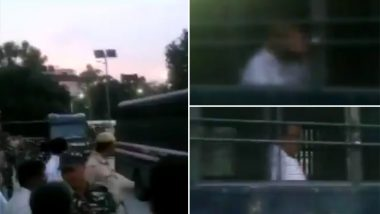 P Chidambaram Waves at Supporters From Police Bus Enroute Tihar Jail, Watch Video