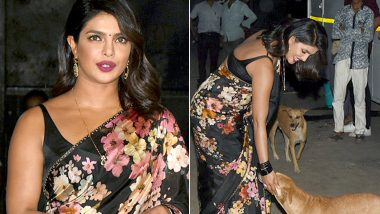 Priyanka Chopra Looks Stunning in Gorgeous Black Saree for The Sky Is Pink Promotions But it is Her Petting a Stray Dog That Truly Wins Our Hearts - See Pictures