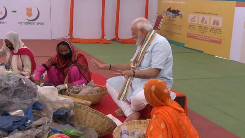 PM Narendra Modi Launches 'Swacchata hi Sewa', Asks Indians To Shun Single-Use Plastic, Segregates Waste With Rag Pickers in Mathura (Watch Video)