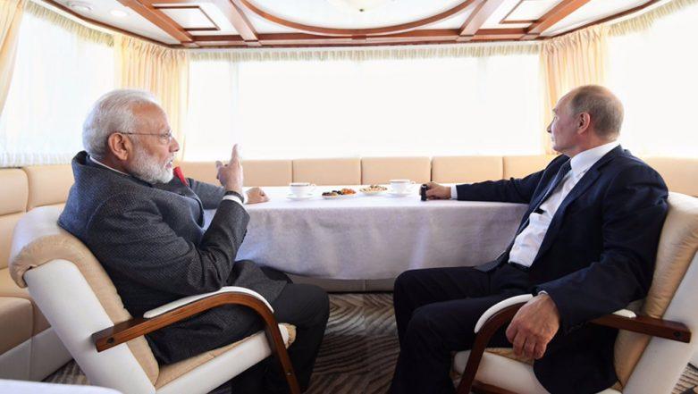 India-Russia Ties: PM Narendra Modi and President Vladimir Putin Reach Zvezda Shipbuilding Complex Via Ship, Watch Video