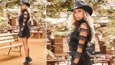 Yo or Hell No! Perrie Edwards Pairs Cowboy Hat with a Little Black Dress for Superga Campaign